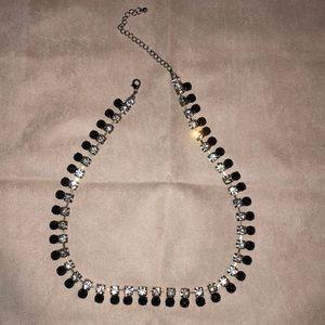 Black and clear rhinestone bib necklace